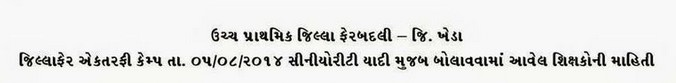 Kheda Uper Primary Camp Seniority List 2014