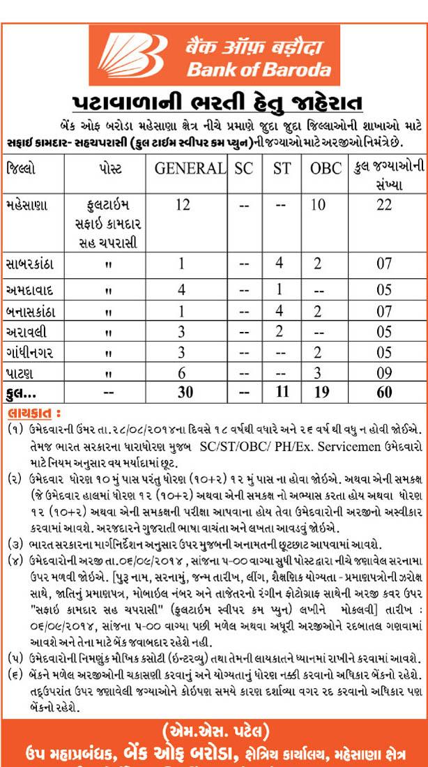 bank of baroda peon recruitment 2014 aurangabad