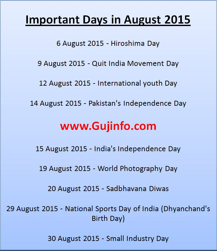important days in august 2015