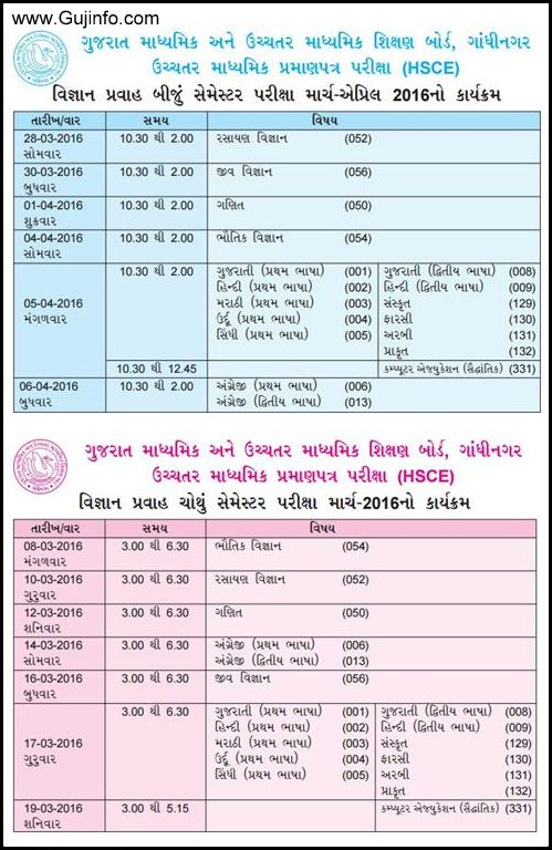 Gseb hsc science semester 2 and 4 exam time table 2016 for Rgpv time table 4 th sem 2015