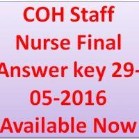 COH Staff Nurse Final Answer key 29-05-2016